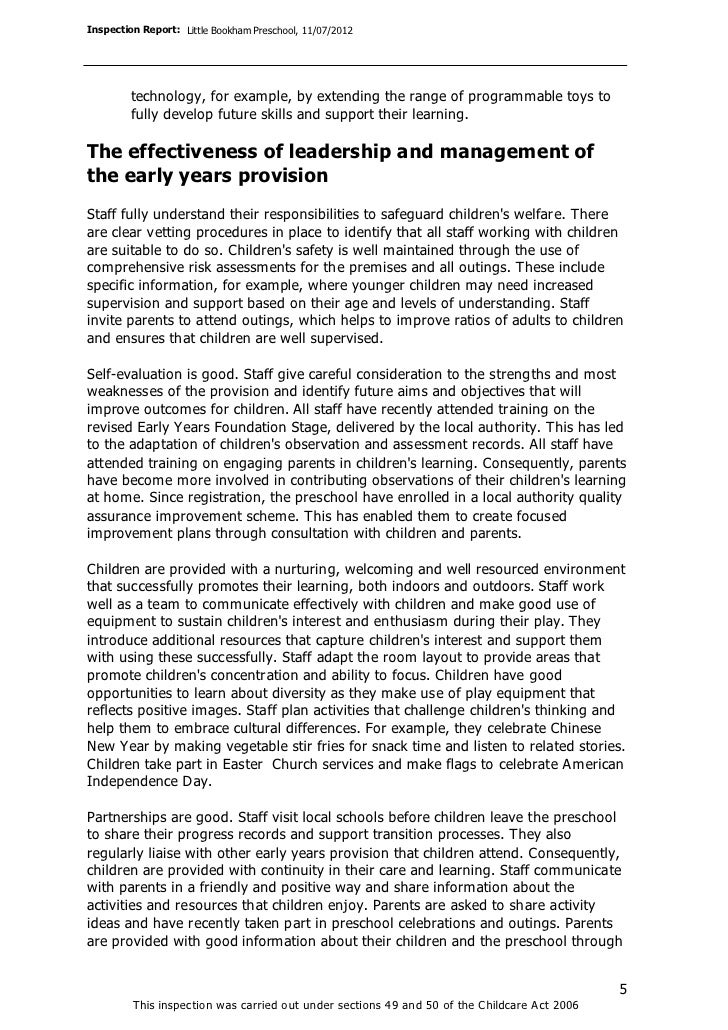 Inspection Report: Little Bookham Preschool, 11/07/2012         technology, for example, by extending the range of program...