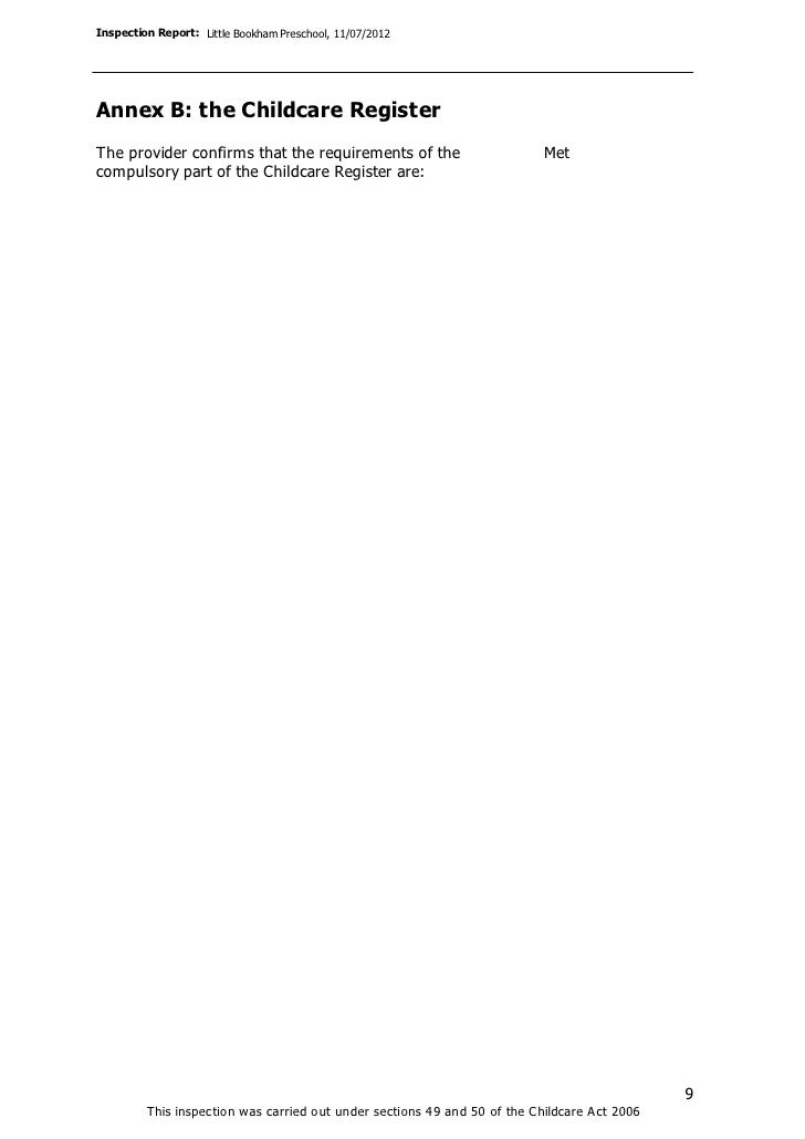 Inspection Report: Little Bookham Preschool, 11/07/2012Annex B: the Childcare RegisterThe provider confirms that the requi...