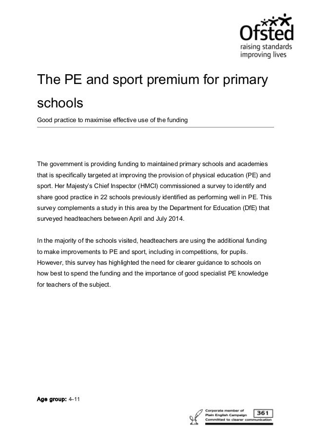 Ofsted good practice for pe and sport premium oct 17th