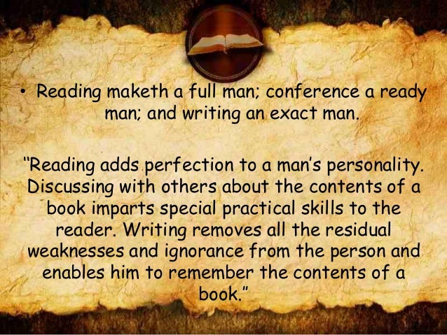 speech on reading makes a ready man