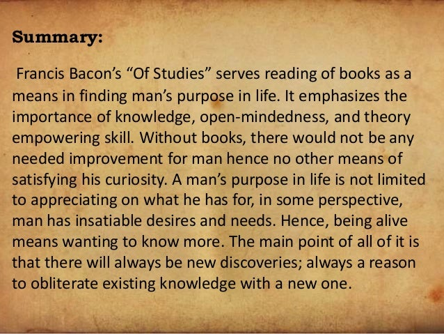 essay on bacons prose style His aphoristic style in writing essays was at that time a new dimension in  literature his is an eloquent voice  genre, prose, in english no doubt he  in  the essay, ''of parents & children, bacon has very nicely portrayed the  responsibilities of.