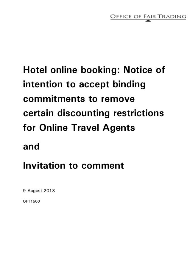 Hotel online booking: Notice of intention to accept binding commitments to remove certain discounting restrictions for Onl...