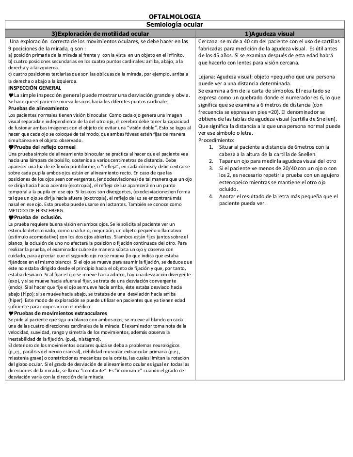 OFTALMOLOGIA                                                                   Semiología ocular                   3)Explo...