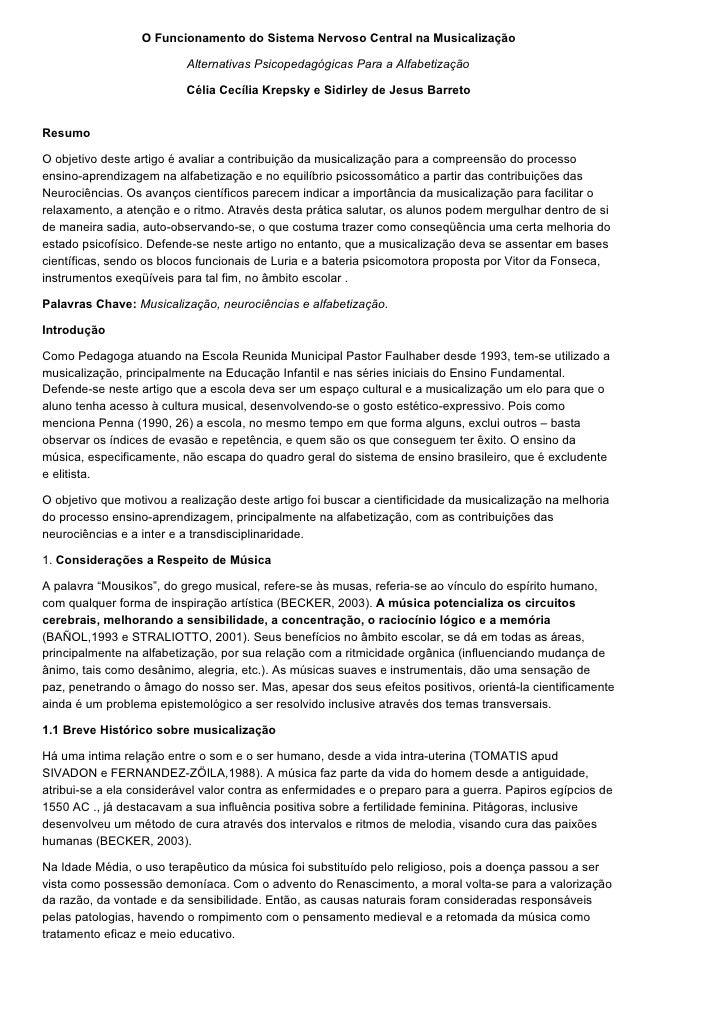 O Funcionamento do Sistema Nervoso Central na Musicalização                            Alternativas Psicopedagógicas Para ...