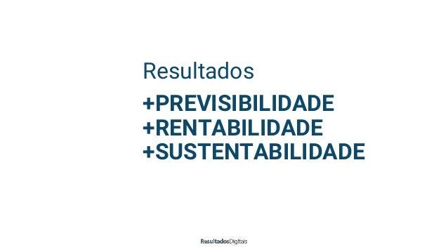 Resultados +PREVISIBILIDADE +RENTABILIDADE +SUSTENTABILIDADE