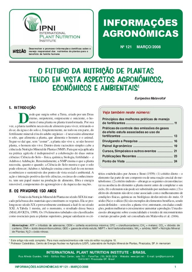 INFORMAÇÕES AGRONÔMICAS Nº 121 – MARÇO/2008 1 INTERNATIONAL PLANT NUTRITION INSTITUTE - BRASIL Rua Alfredo Guedes, 1949 - ...