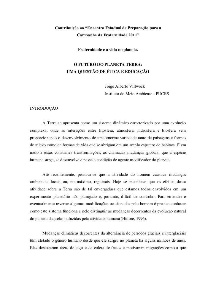 """Contribuição ao """"Encontro Estadual de Preparação para a                          Campanha da Fraternidade 2011""""           ..."""
