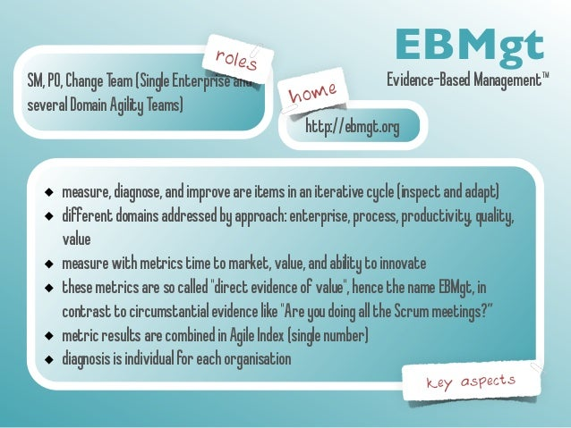 roles  SM, PO, Change Team (Single Enterprise and  several Domain Agility Teams)  EBMgt  Evidence-Based Management™  home ...