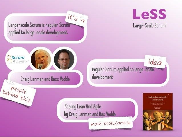 it's LeSS Large-scale Scrum is regular Scrum  a  Large-Scale Scrum applied to large-scale development.  regular Scrum appl...