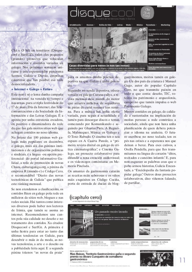 O galego na rede: gústanos (II). Irimia, nº 848 Slide 2