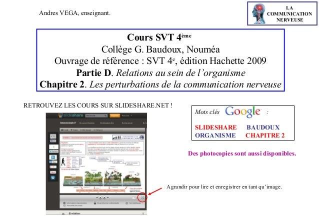 LA COMMUNICATION NERVEUSE  Andres VEGA, enseignant.  Cours SVT 4ème Collège G. Baudoux, Nouméa Ouvrage de référence : SVT ...