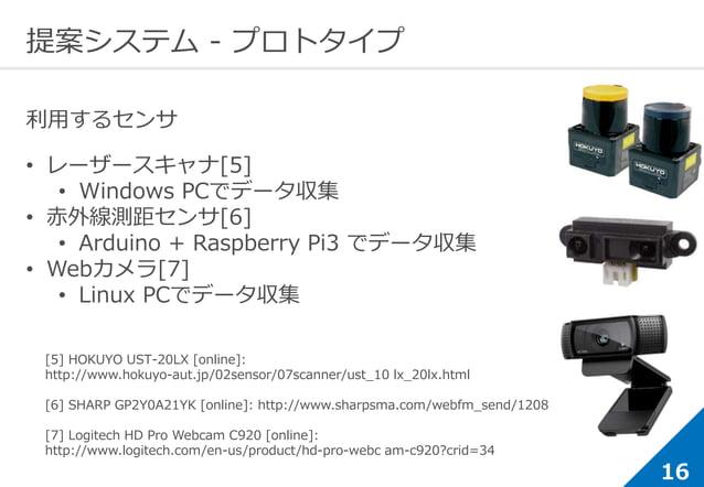 16 提案システム - プロトタイプ 利用するセンサ • レーザースキャナ[5] • Windows PCでデータ収集 • 赤外線測距センサ[6] • Arduino + Raspberry Pi3 でデータ収集 • Webカメラ[7] • L...