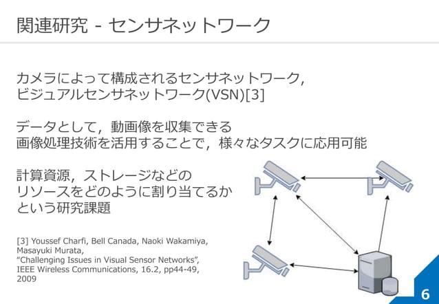 6 関連研究 - センサネットワーク カメラによって構成されるセンサネットワーク, ビジュアルセンサネットワーク(VSN)[3] データとして,動画像を収集できる 画像処理技術を活用することで,様々なタスクに応用可能 計算資源,ストレージなどの...