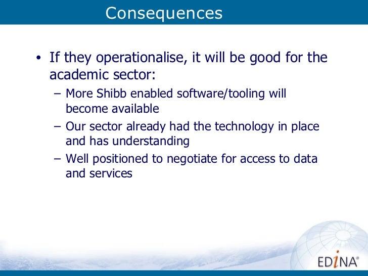 Consequences <ul><li>If they operationalise, it will be good for the academic sector: </li></ul><ul><ul><li>More Shibb ena...