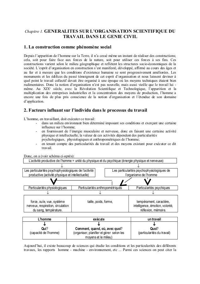Chapitre 1. GENERALITES SUR L'ORGANISATION SCIENTIFIQUE DU TRAVAIL DANS LE GENIE CIVIL 1. La construction comme phénomène ...