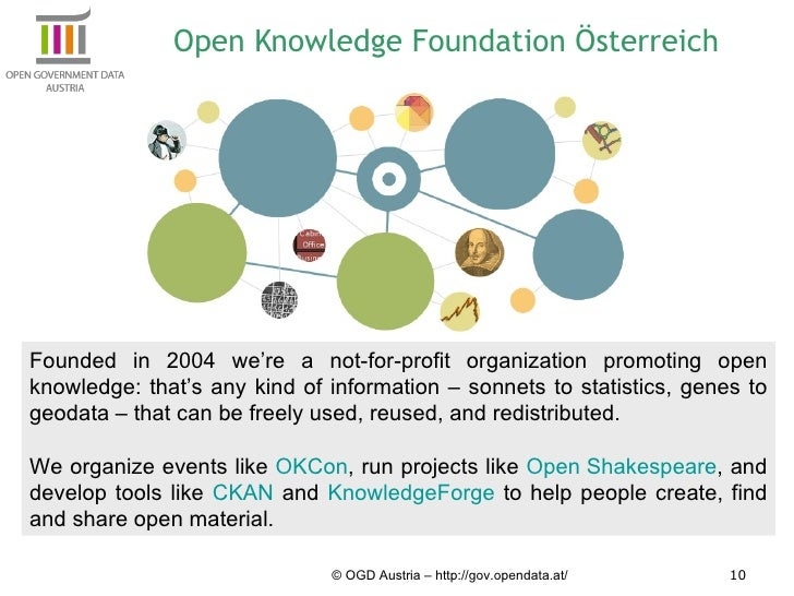 Open Knowledge Foundation Österreich © OGD Austria – http://gov.opendata.at/ Founded in 2004 we're a not-for-profit organi...