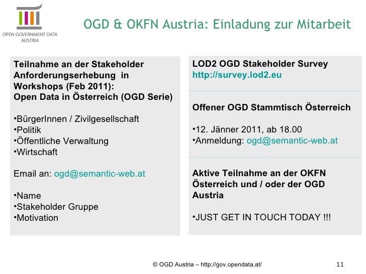© OGD Austria – http://gov.opendata.at/ OGD & OKFN Austria: Einladung zur Mitarbeit <ul><li>Teilnahme an der Stakeholder A...