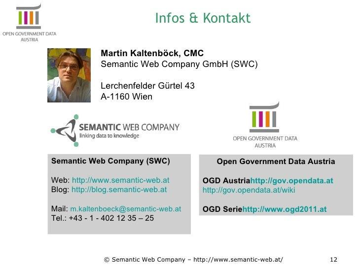 Infos & Kontakt © Semantic Web Company – http://www.semantic-web.at/ Martin Kaltenböck, CMC Semantic Web Company GmbH (SWC...