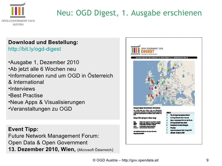 © OGD Austria – http://gov.opendata.at/ Neu: OGD Digest, 1. Ausgabe erschienen <ul><li>Download und Bestellung:  </li></ul...