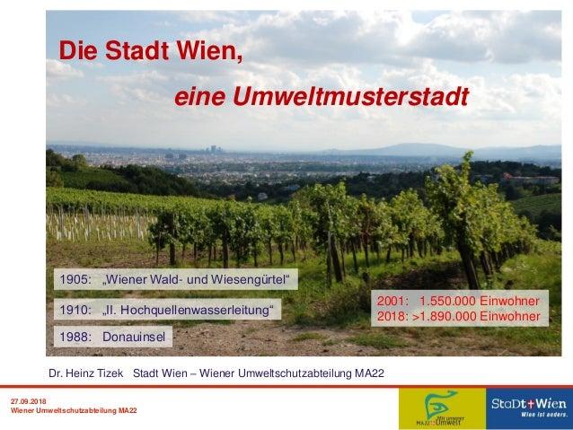 27.09.2018 Wiener Umweltschutzabteilung MA22 Die Stadt Wien, eine Umweltmusterstadt Dr. Heinz Tizek Stadt Wien – Wiener Um...