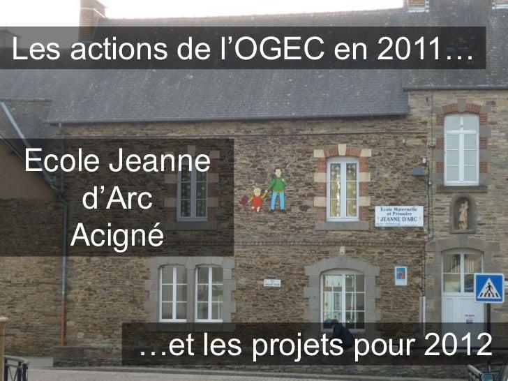 Les actions de l'OGEC en 2011…Ecole Jeanne    d'Arc   Acigné        …et les projets pour 2012