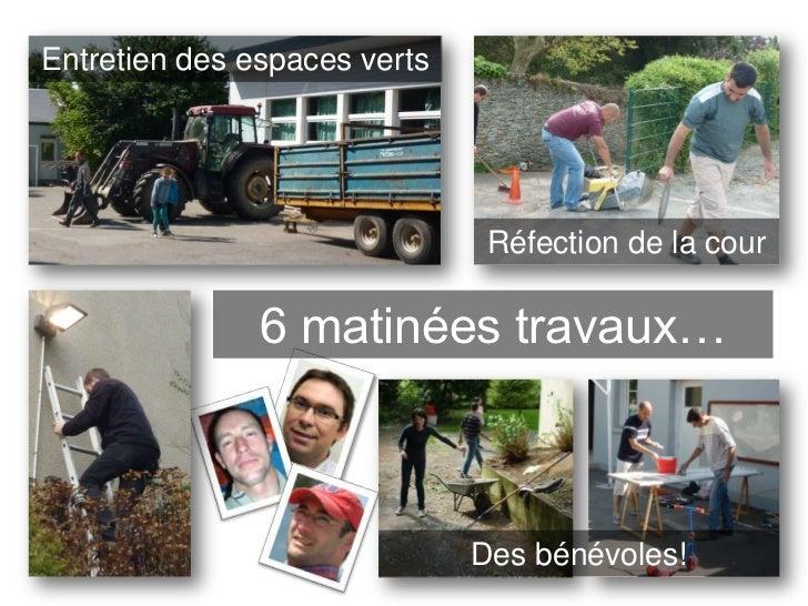 Entretien des espaces verts                               Réfection de la cour               6 matinées travaux…          ...