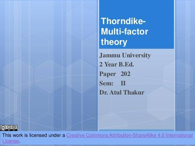 Thorndike multifactor theory