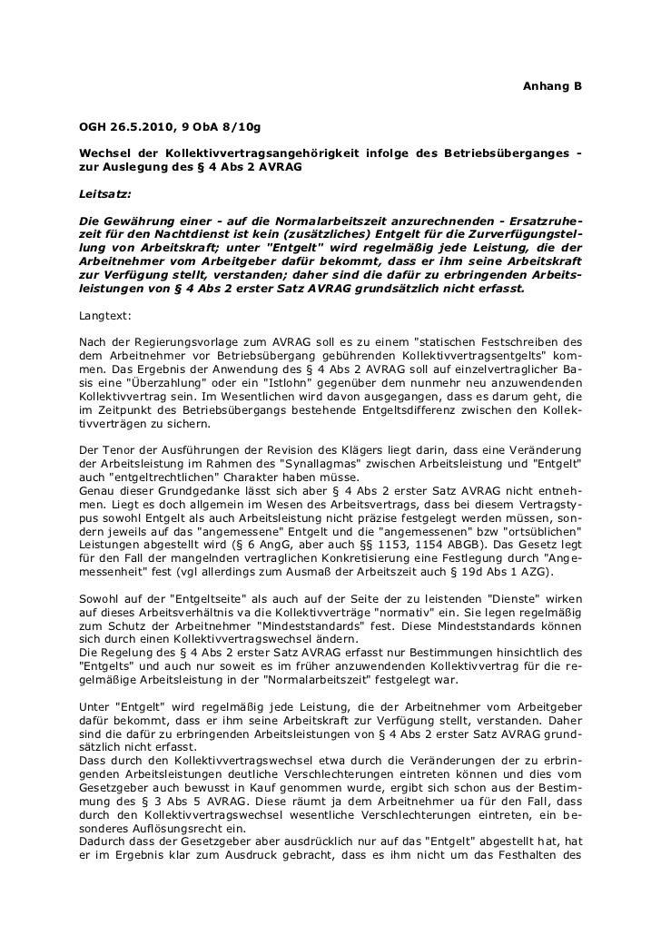 Anhang BOGH 26.5.2010, 9 ObA 8/10gWechsel der Kollektivvertragsangehörigkeit infolge des Betriebsüberganges -zur Auslegung...