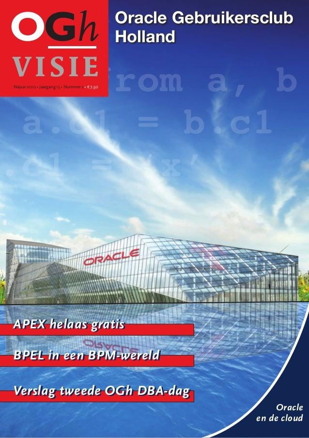 Oracle Gebruikersclub Holland Oracle en de cloud APEX helaas gratis BPEL in een BPM-wereld Verslag tweede OGh DBA-dag APEX...