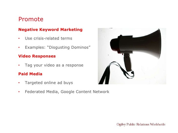 """Promote Negative Keyword Marketing  •   Use crisis-related terms  •   Examples: """"Disgusting Dominos""""  Video Responses  •  ..."""