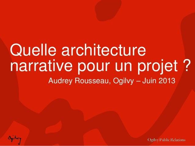 Quelle architecturenarrative pour un projet ?Audrey Rousseau, Ogilvy – Juin 2013