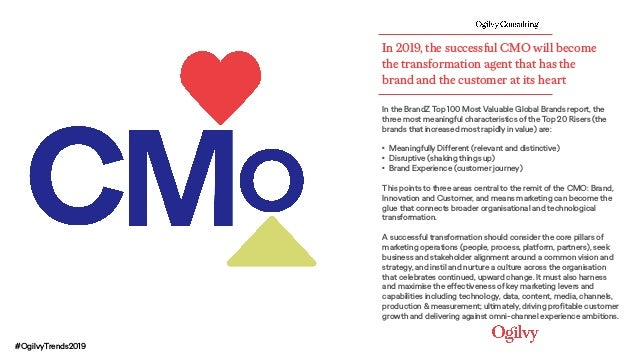 In 2019, the successful CMO will become the transformation agent that has the brand and the customer at its heart In the B...