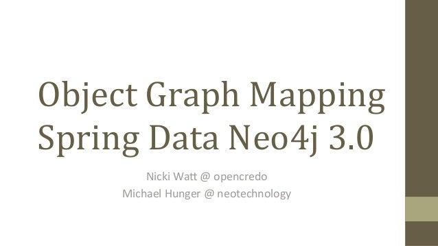 Object  Graph  Mapping   Spring  Data  Neo4j  3.0   Nicki  Wa(  @  opencredo     Michael  Hunger...