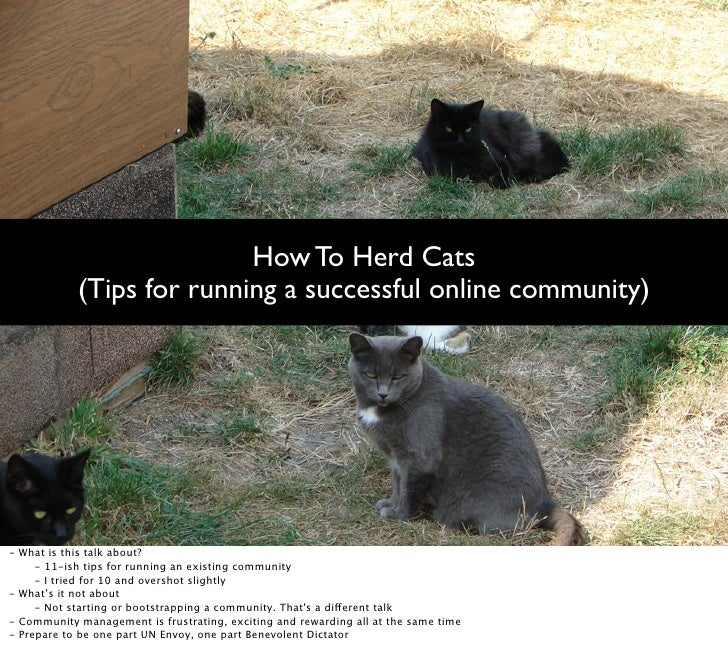 How To Herd Cats               (Tips for running a successful online community)     -   What is this talk about?        - ...