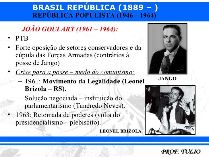 BRASIL REPÚBLICA (1889 – )         REPÚBLICA POPULISTA (1946 – 1964)      JOÃO GOULART (1961 – 1964):•   PTB•   Forte opos...