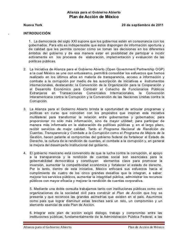 Alianza para el Gobierno Abierto                                   Plan de Acción de México     Nueva York                ...