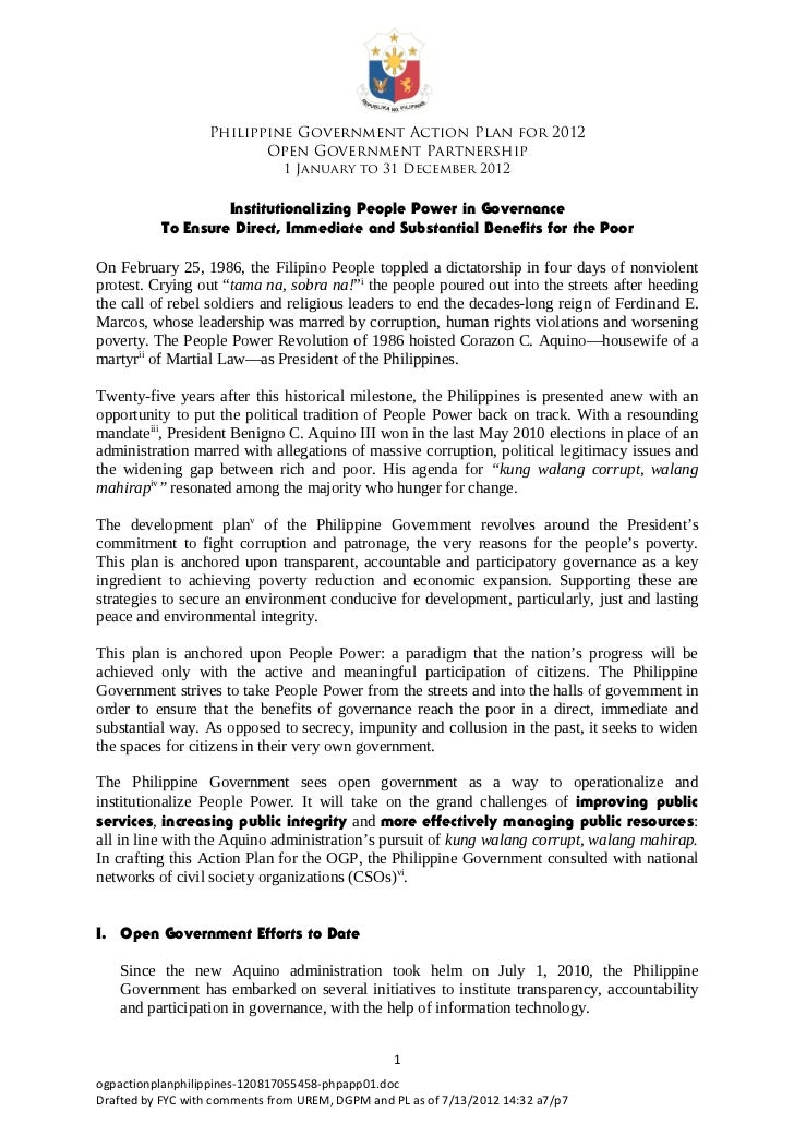 Philippine Government Action Plan for 2012                         Open Government Partnership                            ...
