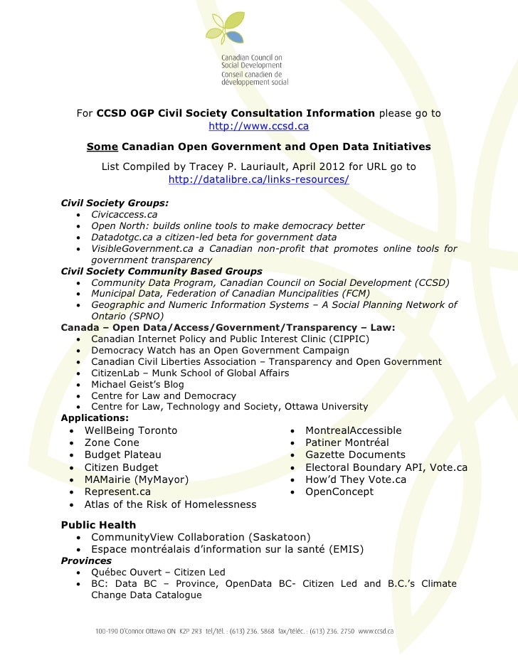For CCSD OGP Civil Society Consultation Information please go to                            http://www.ccsd.ca        Some...