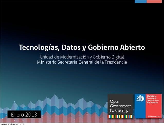 Tecnologías, Datos y Gobierno Abierto                             Unidad de Modernización y Gobierno Digital              ...
