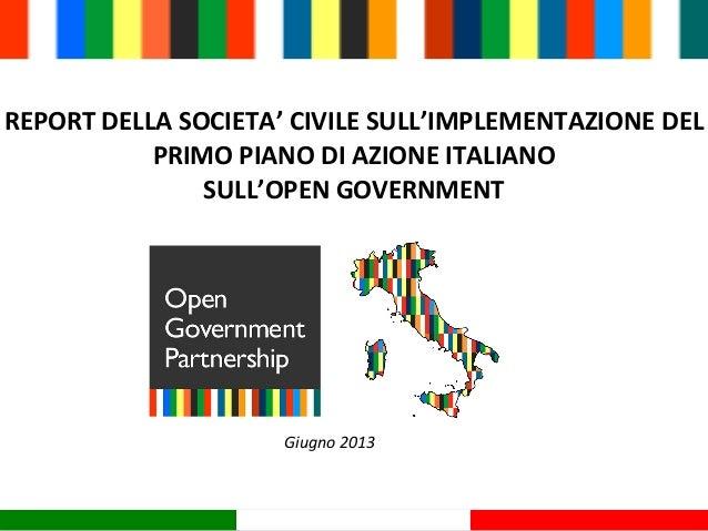 Report della societa civile sull implementazione del for Piani principali del primo piano