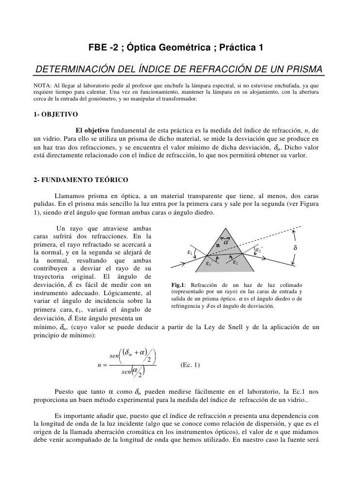 FBE -2 ; Óptica Geométrica ; Práctica 1  DETERMINACIÓN DEL ÍNDICE DE REFRACCIÓN DE UN PRISMA NOTA: Al llegar al laboratori...