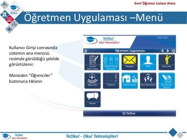 Öğrenci Listelerinin Alınması - Teokul Öğretmen Uygulaması Slide 3