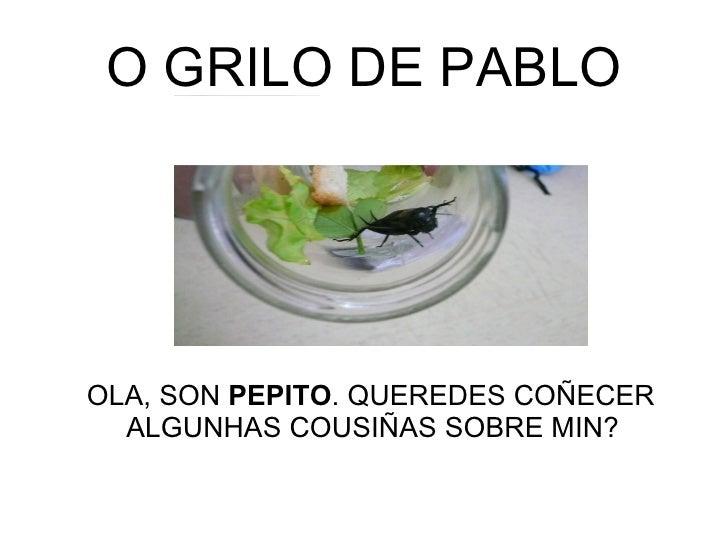 O GRILO DE PABLO <ul><li>OLA, SON  PEPITO . QUEREDES COÑECER ALGUNHAS COUSIÑAS SOBRE MIN? </li></ul>