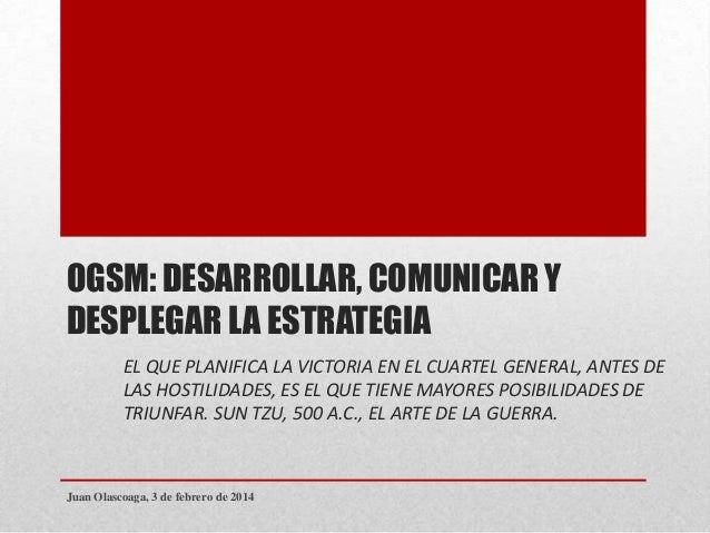 OGSM: DESARROLLAR, COMUNICAR Y DESPLEGAR LA ESTRATEGIA EL QUE PLANIFICA LA VICTORIA EN EL CUARTEL GENERAL, ANTES DE LAS HO...