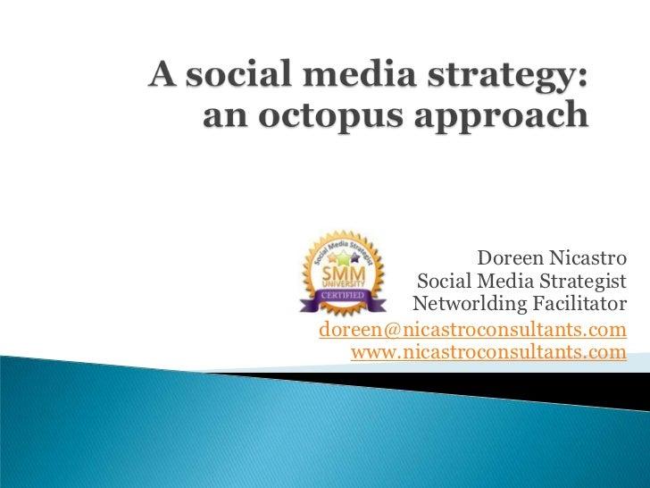 A social media strategy:an octopus approach<br />Doreen NicastroSocial Media Strategist Networlding Facilitator<br />doree...