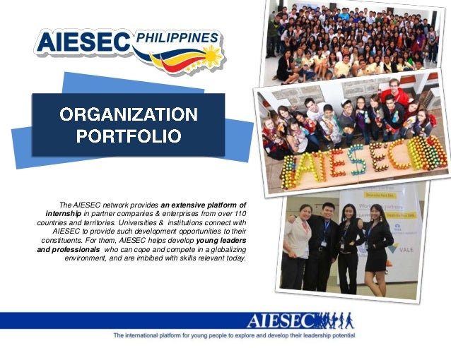 The AIESEC network provides an extensive platform of  internship in partner companies & enterprises from over 110countries...