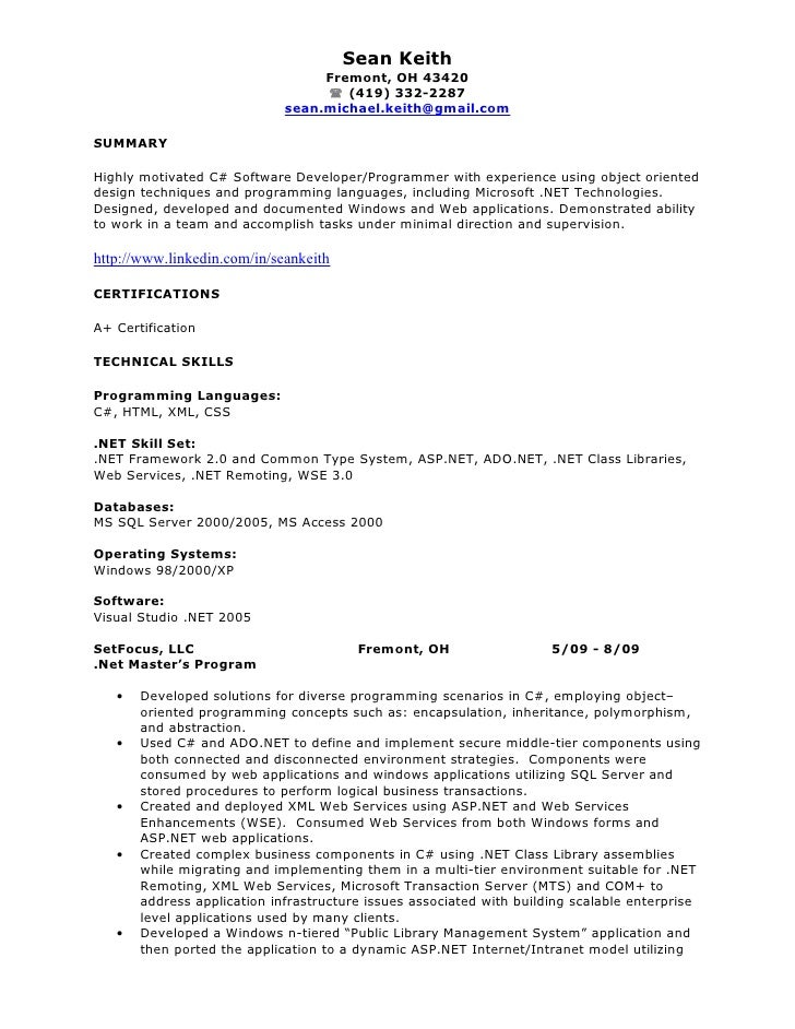 net developer resume sean keith fremont - Net Developer Resume