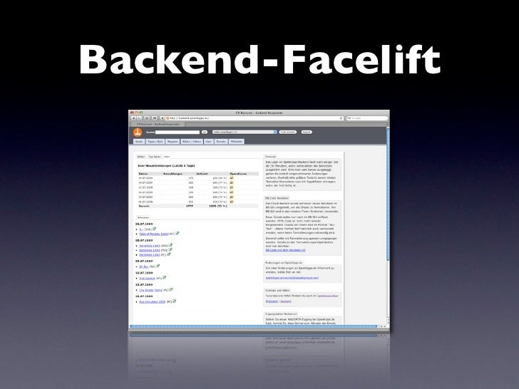 Backend-Facelift
