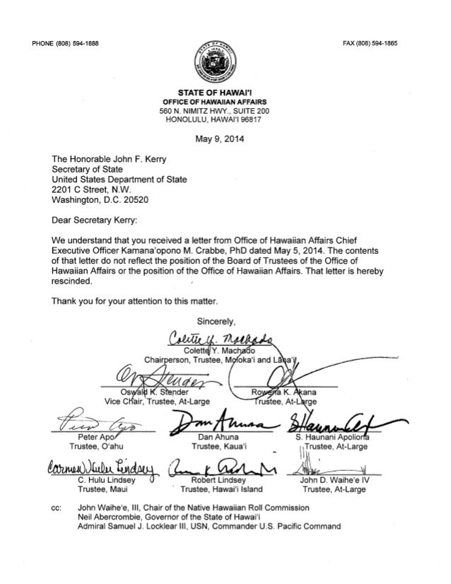 Oha board of trustees letter to john kerry   rescind