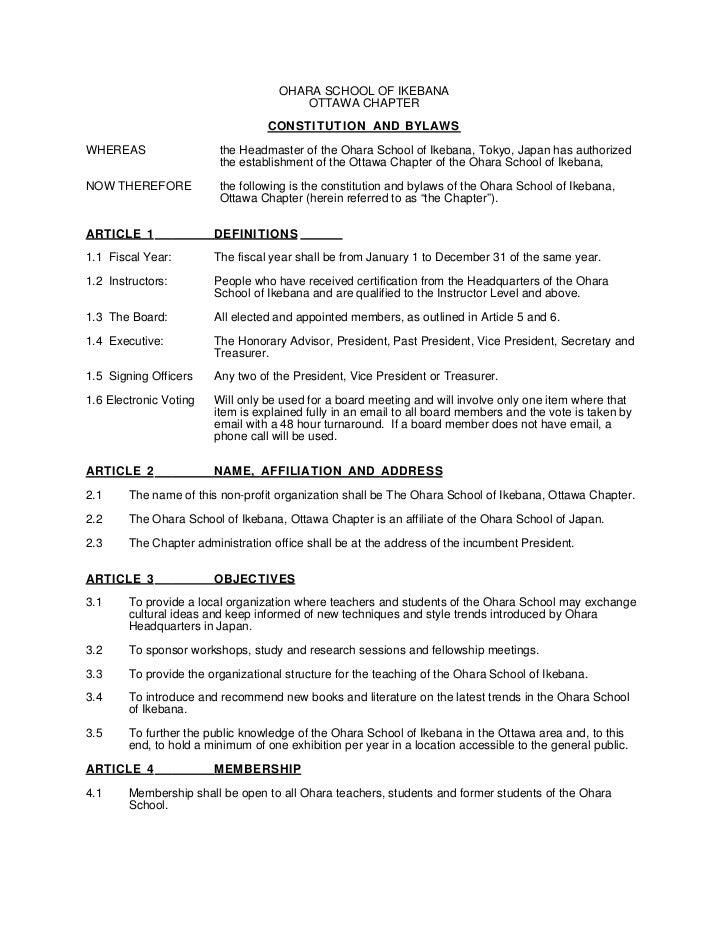 OHARA SCHOOL OF IKEBANA                                         OTTAWA CHAPTER                                    CONSTITU...